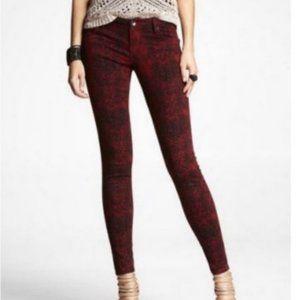 Express Snake Print Cotton Skinny Jean | Red | 12